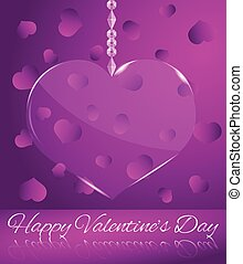 Glowing Transparent Glass Heart on Purple Happy Valentine's Day Greeting