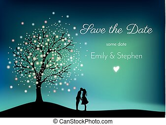 Glowing tree on the night sky with pair in love