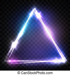 Glowing Triangle on Transparent Background. Electric sign. Transparent Light Neon Frame for Your Design. Bright Vector Illustration.