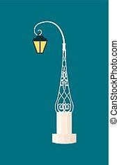 glowing, vetorial, lanterna, illustration., noturna