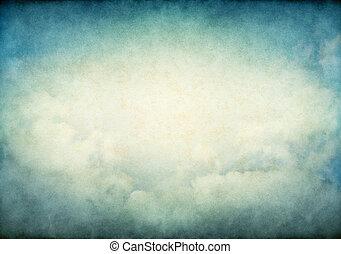 glowing, vindima, nuvens