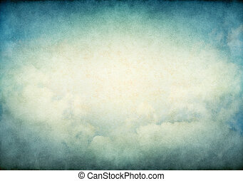 Glowing Vintage Clouds - Fog and clouds with glowing yellow...