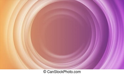 Glowing violet and orange smooth circles abstract tech motion background