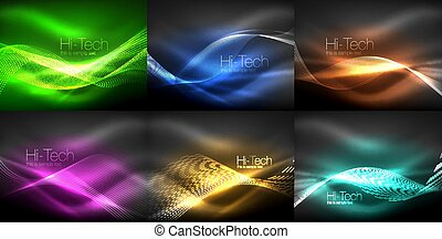 Glowing wave lines background collection, abstract backgrounds