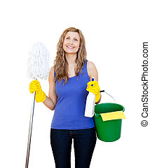 glowing woman ready to clean against a white background
