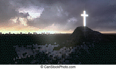 glowing wooden cross