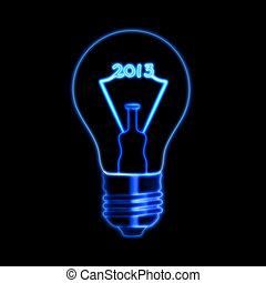 glowing year 2013 in bulb - bulb with glowing filament...