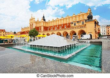 glowny, krakow, rynek, 布, 噴水, ホール