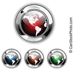 glube, icône, vecteur, illustra, bouton