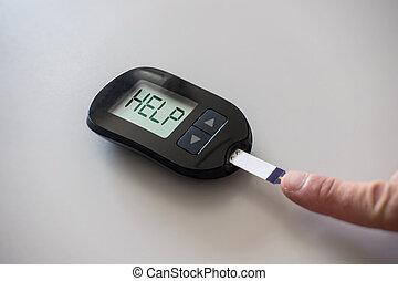 Glucometer asks for help after measuring the blood sugar: ...
