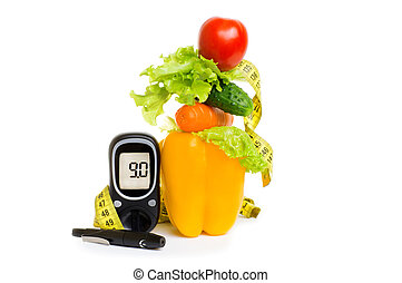 glucometer., diabetes, concepto, nutrición, sano, slimming, consolidación, fruits, fresco, immunity