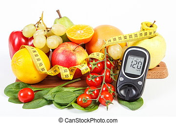 Glucometer, fruits with vegetables and centimeter, diabetes and healthy lifestyle