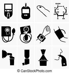 glucometer, tonometer, inhalador