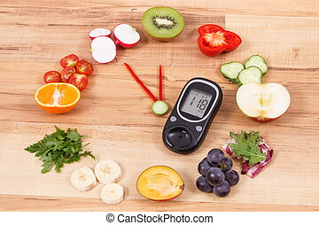 Glucometer with fruits and vegetables showing time of 23 hours 55 minutes, healthy eating for diabetics in new year concept