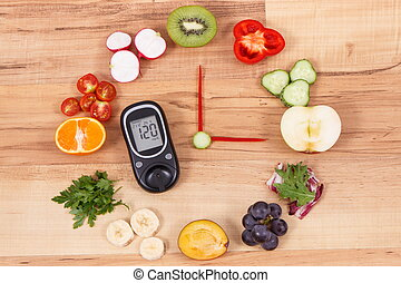 Glucometer with result of sugar level and clock made of fruits with vegetables