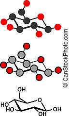 Glucose (D-glucose, dextrose) grape sugar molecule. Stylized...
