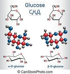 Glucose (dextrose, D-glucose) grape sugar molecule molecule. Alpha-glucose and beta-glucose. Structural chemical formula and molecule model