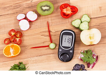 Glucose meter for checking sugar level and fruits with vegetables in shape of clock, healthy food for diabetics concept