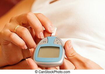 glucose, mulher, testar, diabetes