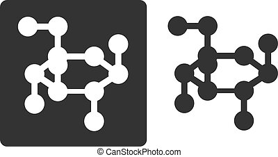 Glucose sugar molecule, flat icon style. Stylized rendering of a beta-D-glucose molecule. Carbon and oxygen atoms shown as circles, hydrogen atoms omitted for clarity.