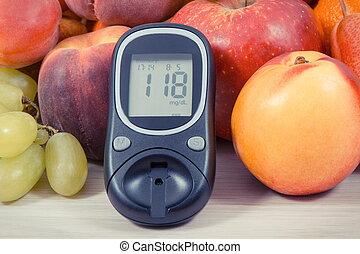 glucose, vitamine, concept, niveau, gezonde , meter, suiker, bron, voedingsmiddelen, opmeting, diabetes, resultaat