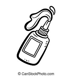 Glue Bottle With Glue Pouring Out in Cartoon Style