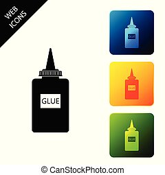 Glue icon isolated. Set icons colorful square buttons. Vector Illustration