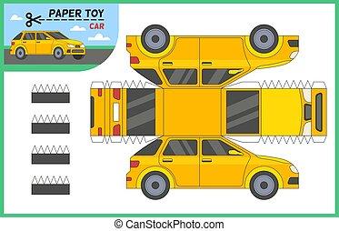 glue., illustration, créer, préscolaire, vecteur, voiture, coupure, puzzle, jeu, véhicule, vous-même, ciseaux, worksheet, auto, pédagogique, découpage, papier, enfants, 3d, modèle, taxi, toy., plat