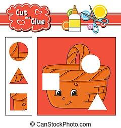 glue., page., illustration, développer, isolé, activité, dessin animé, coupure, mignon, style., children., worksheet., education, vecteur, jeu