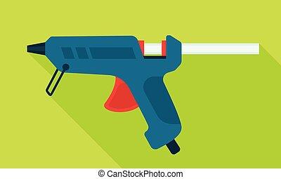 Glue pistol icon, flat style - Glue pistol icon. Flat ...