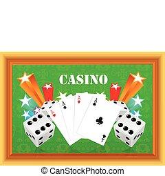 gluecksspiel, abbildung, mit, kasino, e