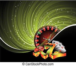gluecksspiel, abbildung, mit, kasino, elemente, auf, grunge, hintergrund.