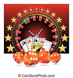 gluecksspiel, abbildung, mit, kasino, elemente