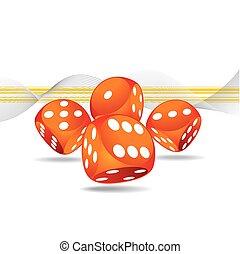 gluecksspiel, abbildung, mit, vier, rotes , spielwürfel