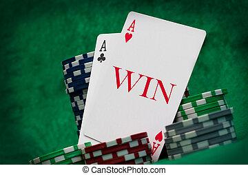 gluecksspiel, begriff, karten, kasino
