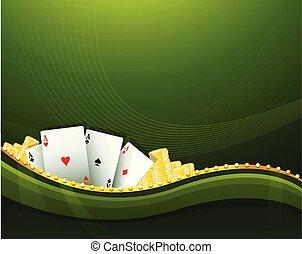 gluecksspiel, elemente, grüner hintergrund, kasino