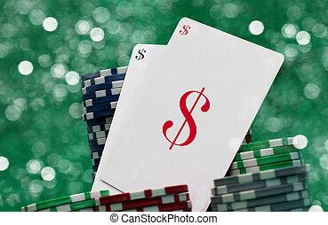 gluecksspiel, karten, kasino, begriff