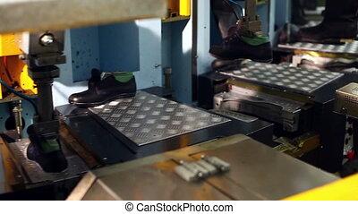 gluing, processus, chauffage, machine, utilisation, soles