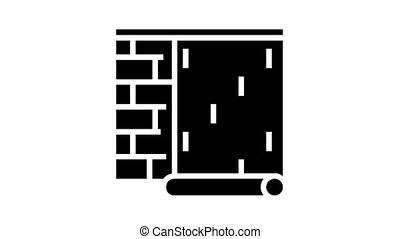 gluing wallpapper on brick wall animated glyph icon. gluing wallpapper on brick wall sign. isolated on white background
