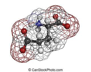 Glutamic acid (Glu, E, glutamate) amino acid,...