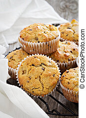Gluten free almond and oat muffins with apple and chockolate...