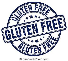 gluten free blue grunge round vintage rubber stamp