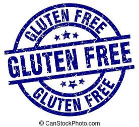 gluten free blue round grunge stamp