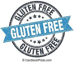 gluten free blue round grunge vintage ribbon stamp