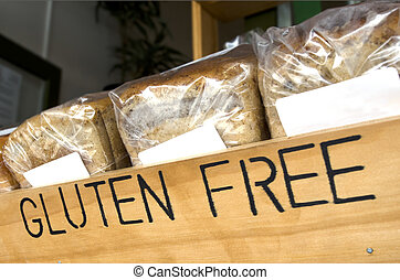Gluten Free Bread - Gluten Free loaf of breads on display in...
