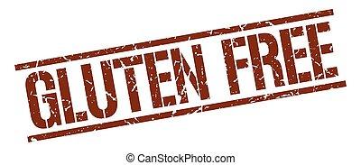 gluten free brown grunge square vintage rubber stamp