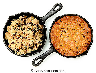 Gluten Free Chocolate Chip Skillet Cookie Before and After ...