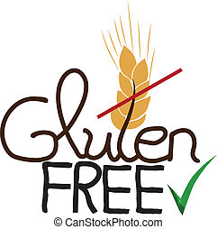 Gluten free design, hand drawn Isolated on a white background