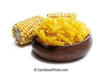 Gluten free dried fusilli pasta made from maize and rice flour isolated on white
