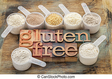gluten free flours and typography - measuring scoops of...